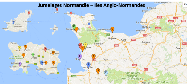 carte jumelages normandie iles anglo-normandes